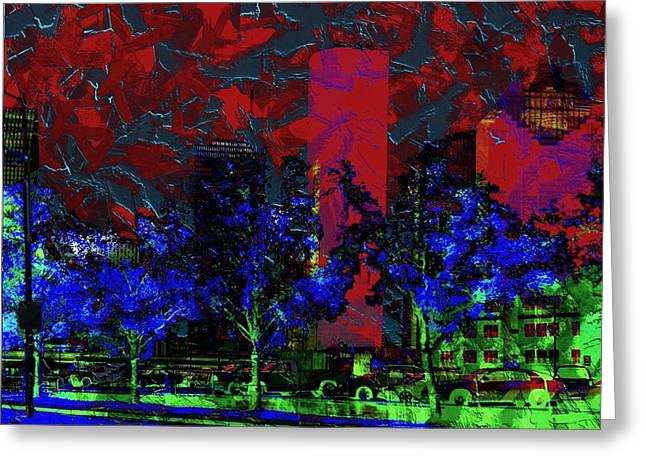 Glowing Jewelry Greeting Cards - The Glowing City  Greeting Card by Jessica MG