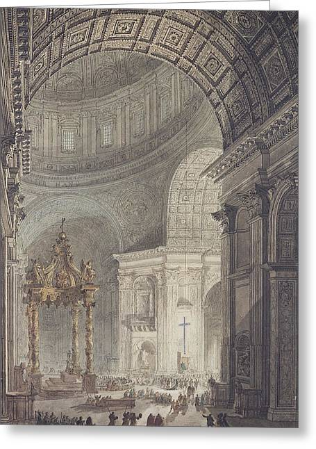 Baldacchino Greeting Cards - The Glowing Cross In St. Peters, Rome, On Maundy Thursday Pen & Ink And Wc On Paper Greeting Card by Charles Norry