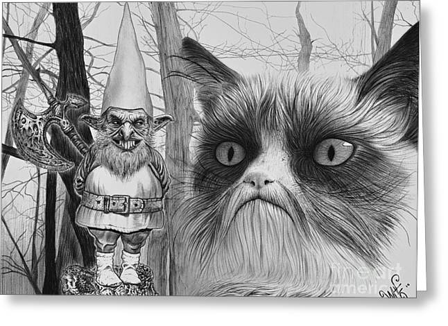 Wave Art Drawings Greeting Cards - The Gnome and the Cat Greeting Card by Wave