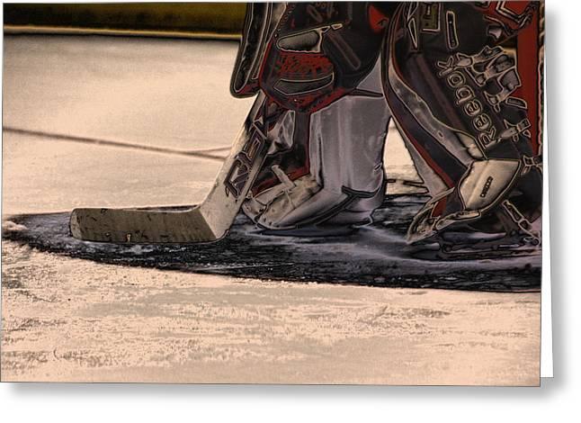 Hockey Goalie Greeting Cards - The Goalies Crease Greeting Card by Karol  Livote
