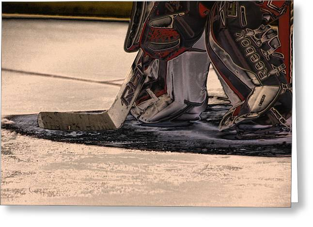 Team Sport Greeting Cards - The Goalies Crease Greeting Card by Karol  Livote