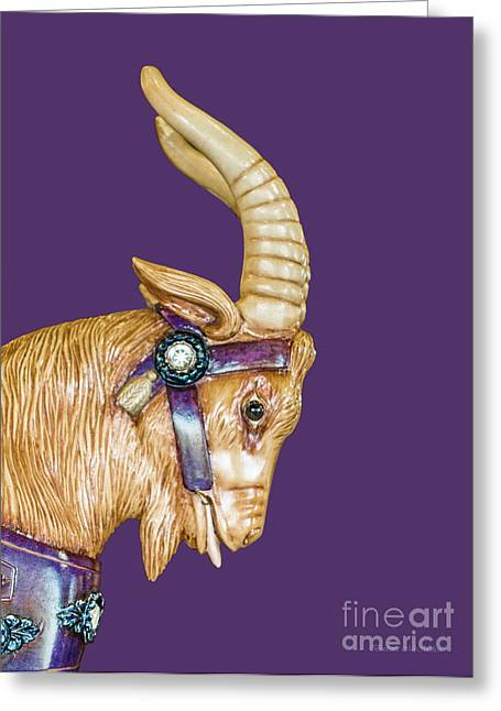 Looff Greeting Cards - The Goat Who Likes Purple Greeting Card by Barbara McMahon