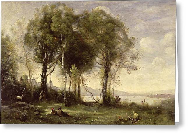 Les Greeting Cards - The Goatherds Of Castel Gandolfo, 1866 Oil On Canvas Greeting Card by Jean Baptiste Camille Corot