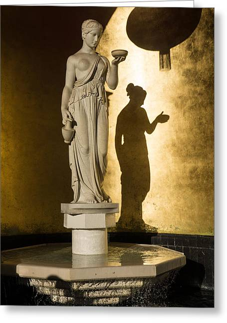 Greek Sculpture Greeting Cards - The Goddess and Her Shadow Greeting Card by Georgia Mizuleva