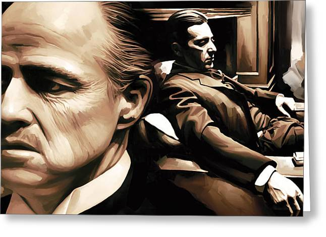 Marlon Brando Poster Greeting Cards - The Godfather Artwork Greeting Card by Sheraz A