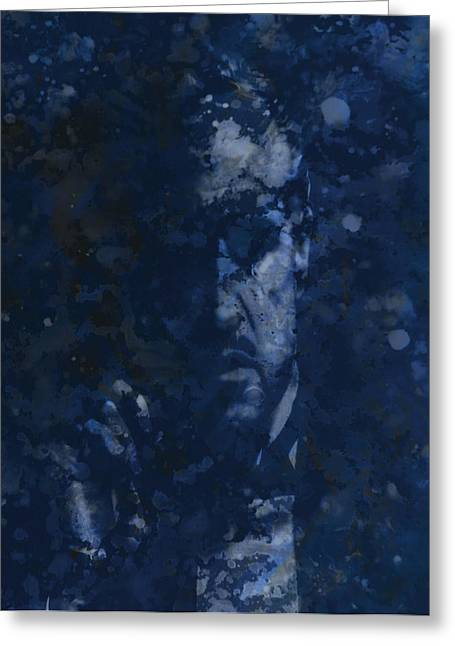 Vito Corleone Greeting Cards - The Godfather Blue Splats Greeting Card by Brian Reaves