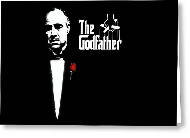 Black And White Print Greeting Cards - The Godfather Greeting Card by Cool Canvas