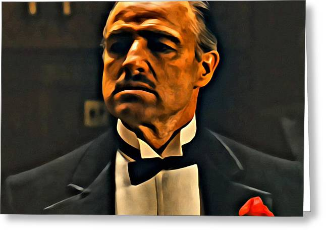 Marlon Brando Poster Greeting Cards - The Godfather Greeting Card by Florian Rodarte