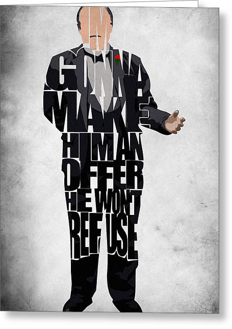 Marlon Brando Poster Greeting Cards - The Godfather Inspired Don Vito Corleone Typography Artwork Greeting Card by Ayse Deniz