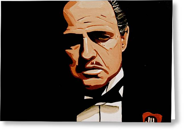 Don Vito Corleone Greeting Cards - The Godfather Greeting Card by John Hooser