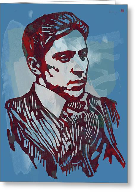 Switch Greeting Cards - The Godfather - Stylised Etching Pop Art Poster Greeting Card by Kim Wang