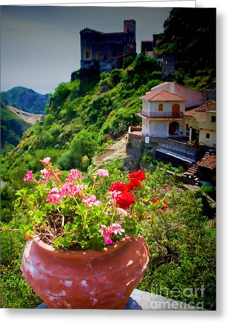 Italian Mediterranean Art Greeting Cards - The Godfather villages of Sicily Greeting Card by David Smith