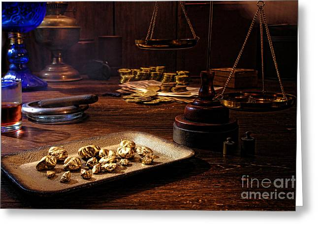 Gold Buyer Greeting Cards - The Gold Trader Shop Greeting Card by Olivier Le Queinec