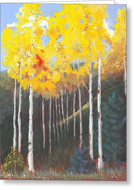 Fall Colors Pastels Greeting Cards - The Gold Standard Greeting Card by Mary Olivera