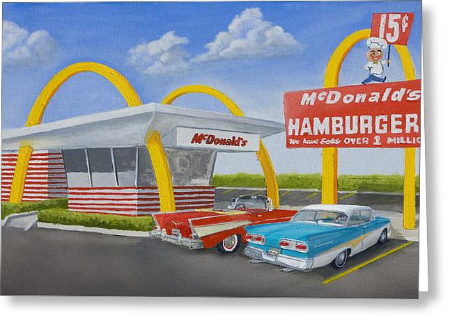 Hamburgers Greeting Cards - The Golden Age of the Golden Arches Greeting Card by Jerry McElroy