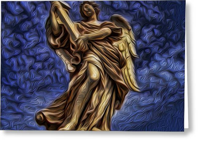 The Golden Angel Greeting Card by Lee Dos Santos