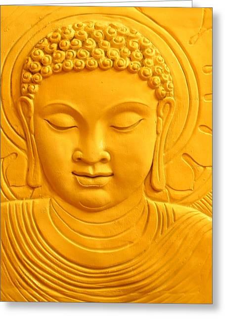 Gautama Greeting Cards - The Golden Buddah Greeting Card by Karyn Robinson