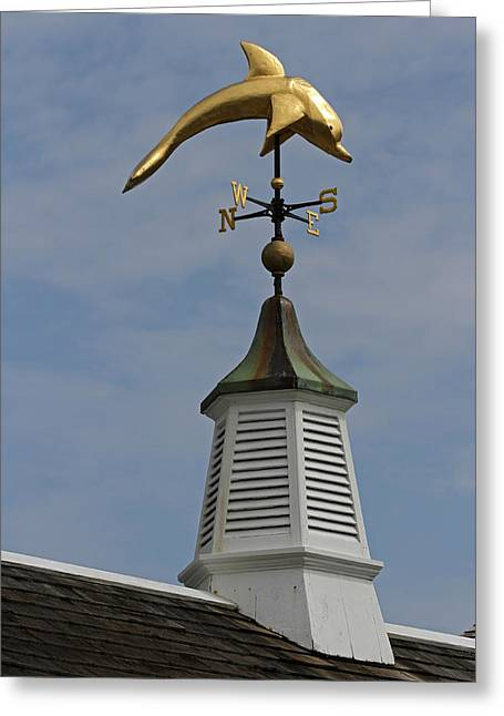Chatham Greeting Cards - The Golden Dolphin Weathervane Greeting Card by Juergen Roth