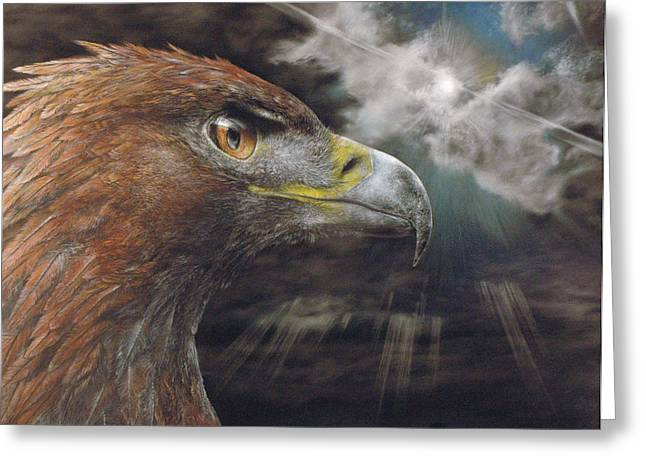 Golden Brown Pastels Greeting Cards - The Golden Eagle Greeting Card by Luke Barabe