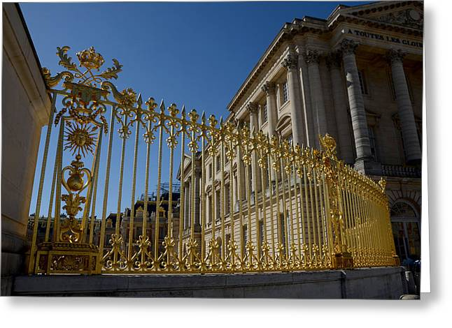 Trianon Greeting Cards - The Golden Fence of Trianon Palace Greeting Card by David Taylor