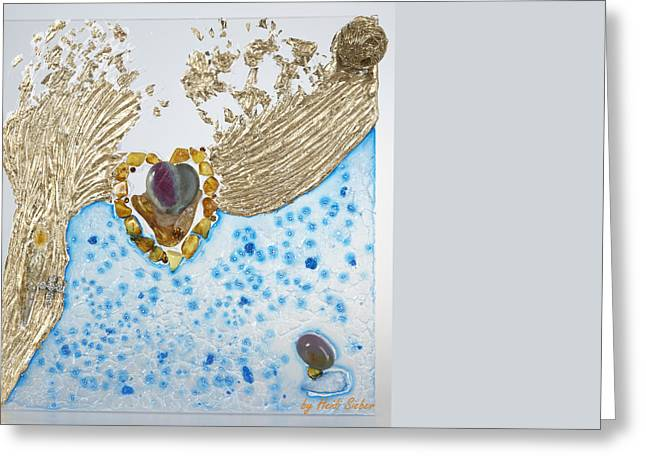 Stones Glass Art Greeting Cards - The golden flow of love Greeting Card by Heidi Sieber