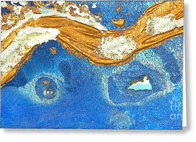 Golden Glass Art Greeting Cards - The golden flow within the ocean of love Greeting Card by Heidi Sieber