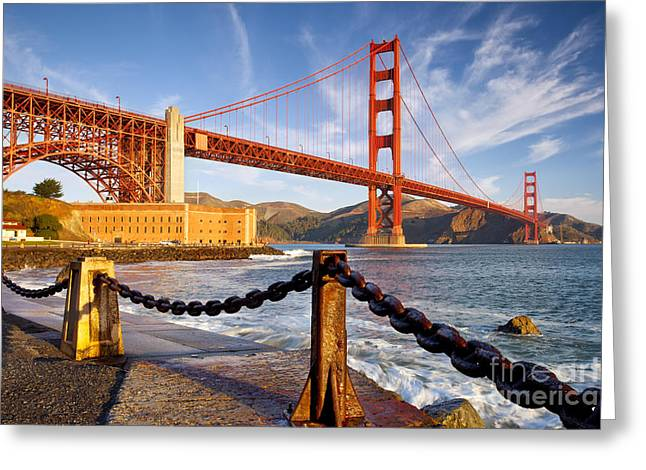 Golden Chain Greeting Cards - The Golden Gate Greeting Card by Brian Jannsen