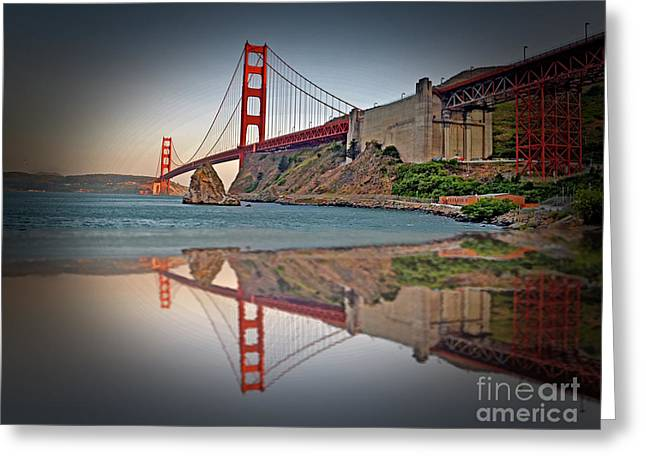 Jim Fitzpatrick Greeting Cards - The Golden Gate Bridge and Reflection Greeting Card by Jim Fitzpatrick