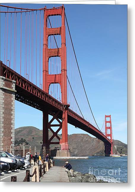 Frisco Pier Greeting Cards - The Golden Gate Bridge at Fort Point - 5D21468 Greeting Card by Wingsdomain Art and Photography