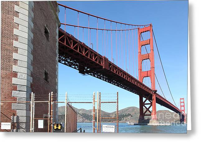 Frisco Pier Greeting Cards - The Golden Gate Bridge at Fort Point - 5D21479 Greeting Card by Wingsdomain Art and Photography