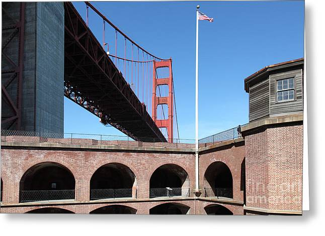Frisco Pier Greeting Cards - The Golden Gate Bridge at Fort Point 5D21567 Greeting Card by Wingsdomain Art and Photography