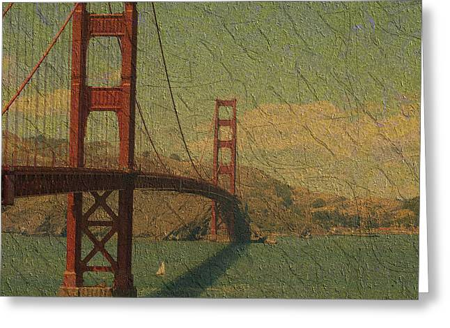 Famous Bridge Greeting Cards - The Golden Gate Greeting Card by Kiki Art