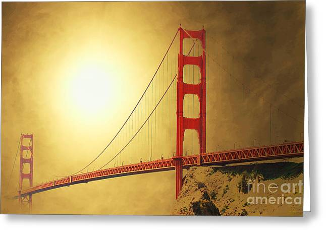 Bayarea Greeting Cards - The Golden Gate Greeting Card by Wingsdomain Art and Photography