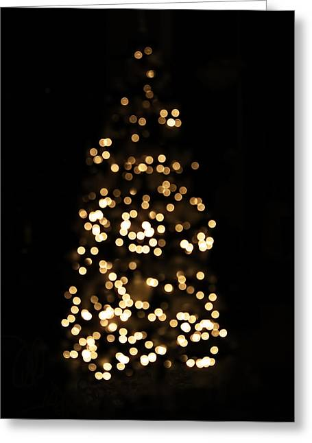 Christmas Art Greeting Cards - The Golden Glow of a Christmas Tree Greeting Card by Rona Black