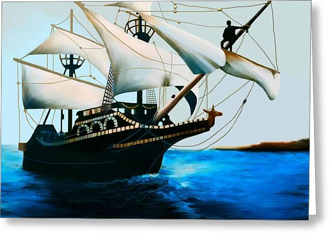Sailboat Images Paintings Greeting Cards - The Golden Hind Greeting Card by Corey Ford