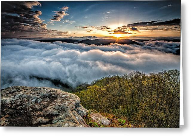 Amazing Sunset Greeting Cards - The golden hour above the clouds on top of a mountain in West Virginia during sunrise. Greeting Card by Michael Bowen