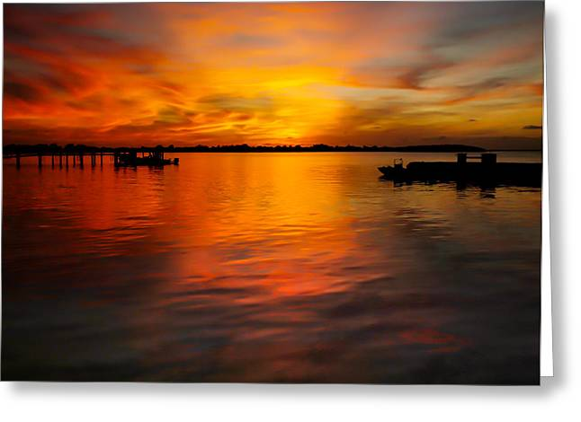 Amazing Sunset Greeting Cards - The Golden Hour Greeting Card by Karen Wiles