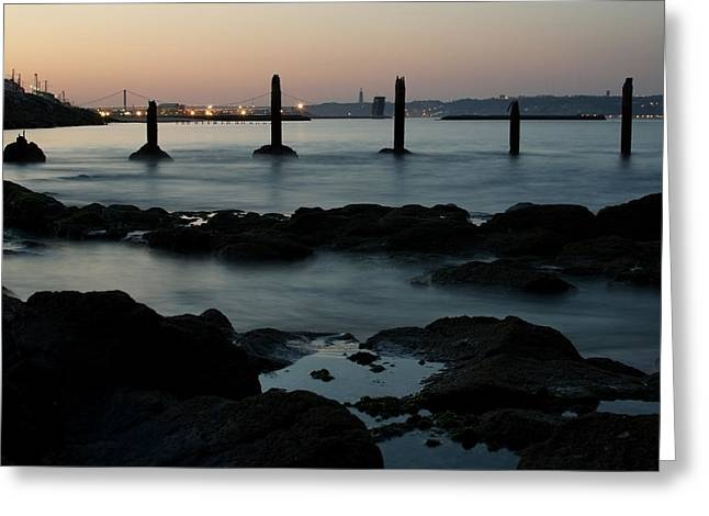 Steel Pier Greeting Cards - The Golden Hour Greeting Card by Marco Oliveira