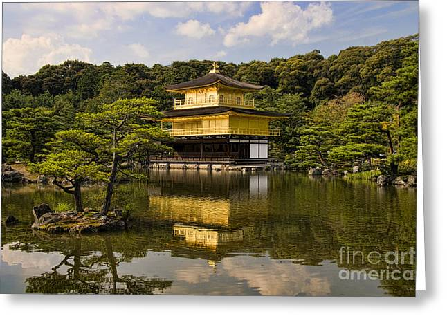 Pond.  Greeting Cards - The Golden Pagoda in Kyoto Japan Greeting Card by David Smith