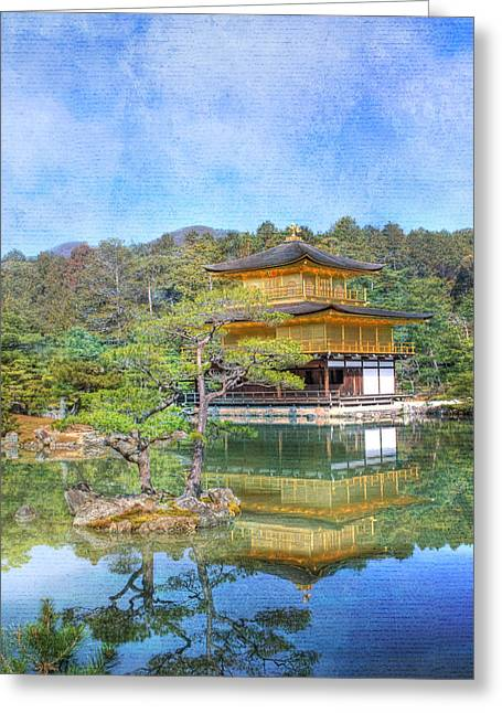 Asian Culture Greeting Cards - The Golden Pavilion Greeting Card by Juli Scalzi