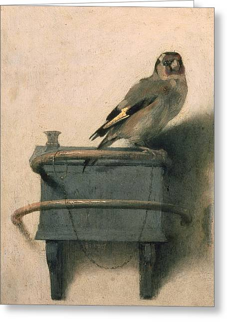 Animals Paintings Greeting Cards - The Goldfinch Greeting Card by Carel Fabritius