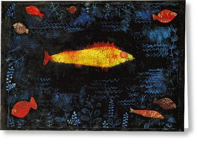 Golden Fish Paintings Greeting Cards - The Goldfish Greeting Card by Paul Klee