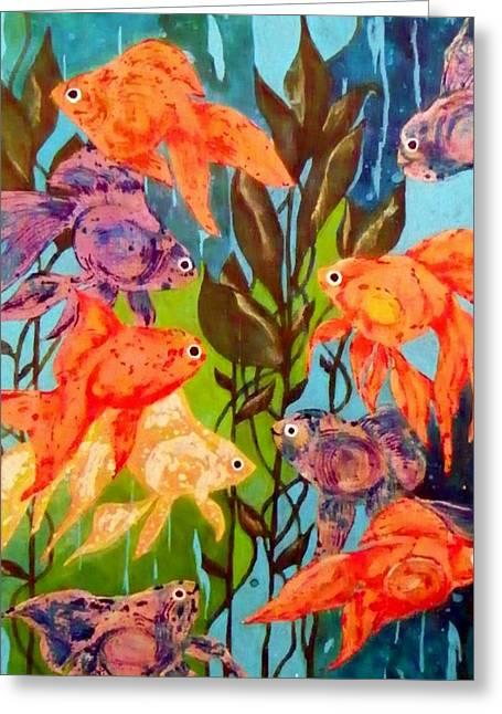 Representative Abstract Mixed Media Greeting Cards - The Goldfish Pond Greeting Card by David Raderstorf