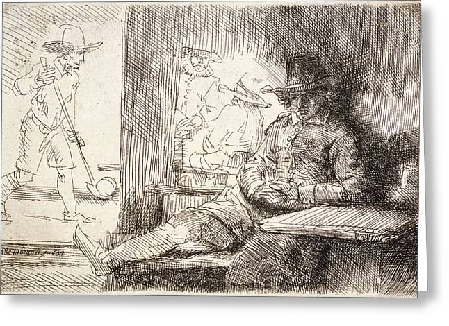 Player Drawings Greeting Cards - The Golf Player Greeting Card by Rembrandt Van Rijn
