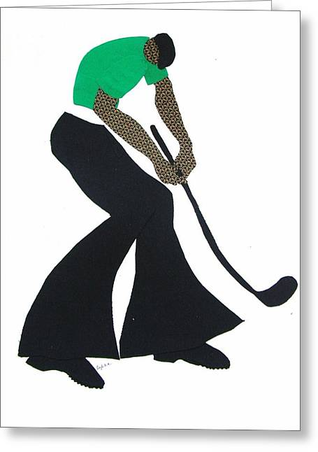 Golf Tapestries - Textiles Greeting Cards - The Golfer Greeting Card by Ruth Yvonne Ash
