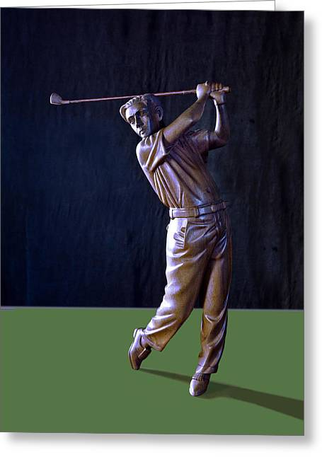 Wooden Sculpture Greeting Cards - The Golfer Greeting Card by Steve Ladner