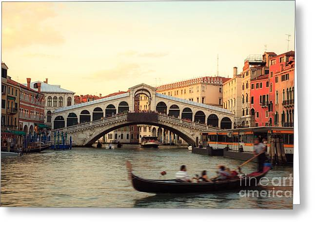 Italian Sunset Greeting Cards - The gondolier II Greeting Card by Matteo Colombo