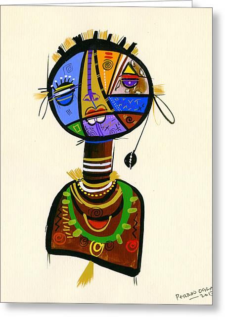 Uganda Greeting Cards - The Good Face Of Colours, 2013 Mixed Media On Card Greeting Card by Oglafa Ebitari Perrin