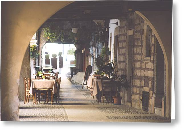 Italian Restaurant Greeting Cards - The good life.. Greeting Card by A Rey
