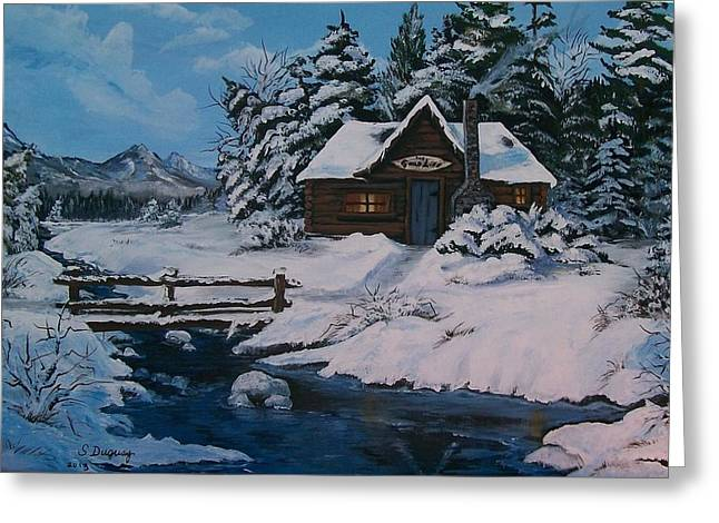 Log Cabins Greeting Cards - The Good Life Greeting Card by Sharon Duguay